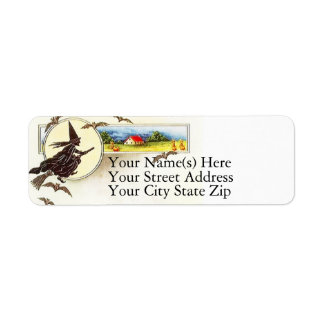 Country Halloween and Witch Vintage Halloween Return Address Label