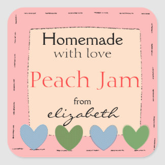 Country Hearts-Homemade Square Sticker