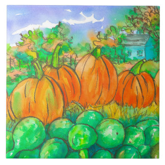 Country Home Pumpkin Patch Autumn Trees Ceramic Tile