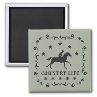 Country Horse Stamp Square Magnet