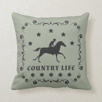 Country Horse Stamp Throw Cushion