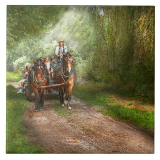Country - Horse - The hay ride Large Square Tile