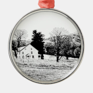 Country House in Back and White Silver-Colored Round Decoration