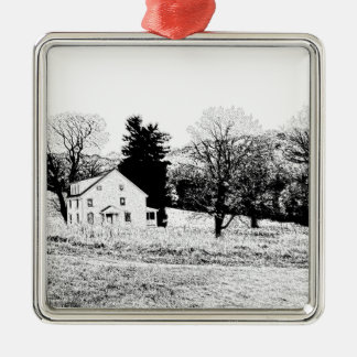 Country House in Back and White Silver-Colored Square Decoration
