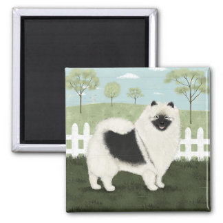 Country Keeshond Square Magnet