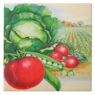 Country Kitchen Decor Vegetables Large Square Tile
