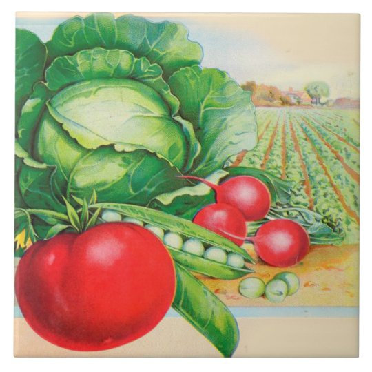 Kitchen Tiles Fruits Vegetables: Country Kitchen Decor Vegetables Large Square Tile