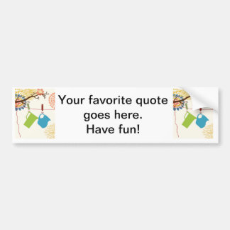 Country Kitchen- Pails and Pitcher on floral. Car Bumper Sticker