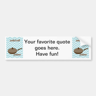 Country Kitchen- pans and pots on chevron. Bumper Sticker
