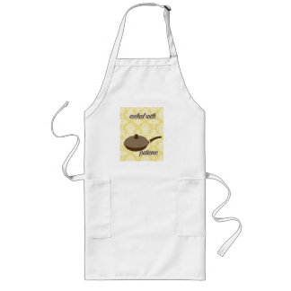 country kitchen - pans on floral damask. long apron