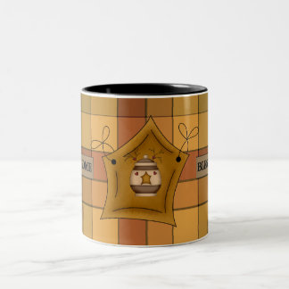 Country Kitchen  Plaid Star Bless Home Coffee Cup Two-Tone Mug
