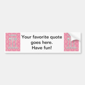 country kitchen - silverware on floral damask. bumper sticker