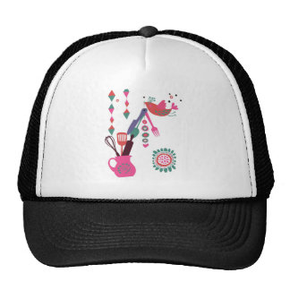 country kitchen - silverware on floral. mesh hat