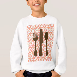 Country Kitchen- Utensils on damask floral. Sweatshirt