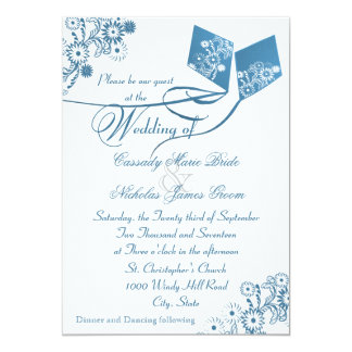 Country Kites Bouquet Wedding Blue Card