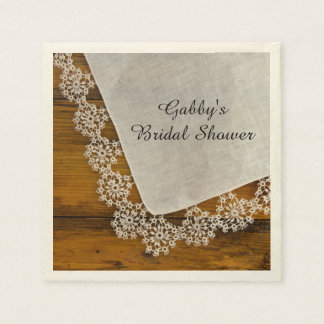 Country Lace and Barn Wood Bridal Shower Disposable Serviette