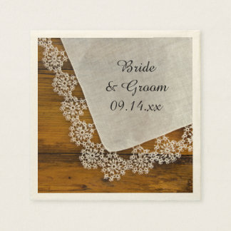 Country Lace and Barn Wood Wedding Disposable Serviette