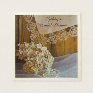 Country Lace and Flowers Barn Bridal Shower Paper Napkin