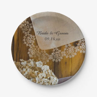 Country Lace and Flowers Barn Wedding Paper Plate