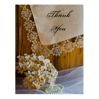 Country Lace and Flowers Barn Wedding Thank You Postcard