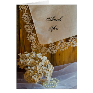 Country Lace and Flowers Bridesmaid Thank You Card