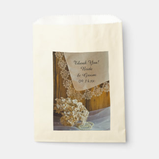 Country Lace and Flowers Wedding Thank You Favour Bag
