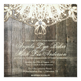 Country Lace and Wood Rustic Wedding Invitation