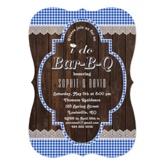 Country Lace Blue Gingham Old Wood I DO BBQ Invite