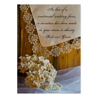 Country Lace Flowers Barn Wedding Charity Favors Pack Of Chubby Business Cards