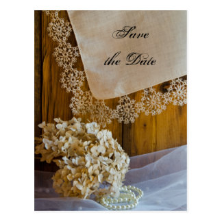 Country Lace Flowers Barn Wedding Save the Date Postcard