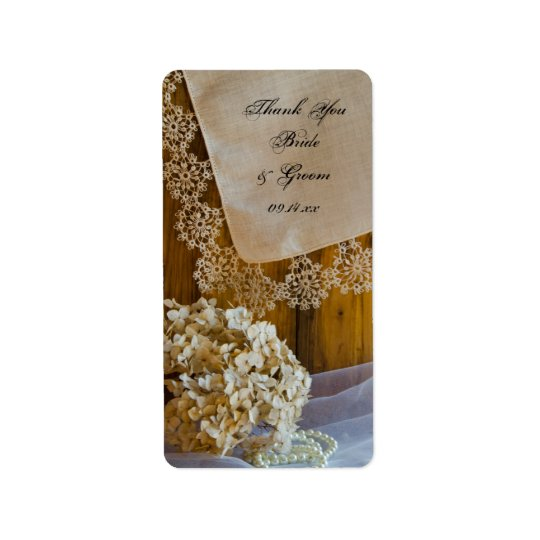 Country Lace Flowers Wedding Thank You Favour Tag Address Label