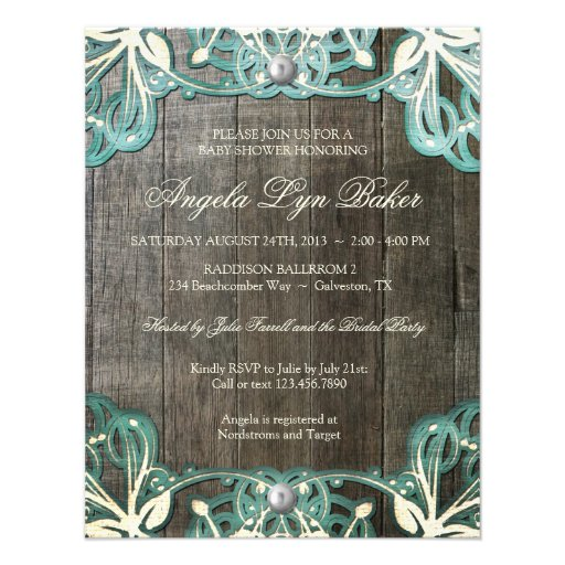 Country Lace Wood Rustic Baby Shower Invite