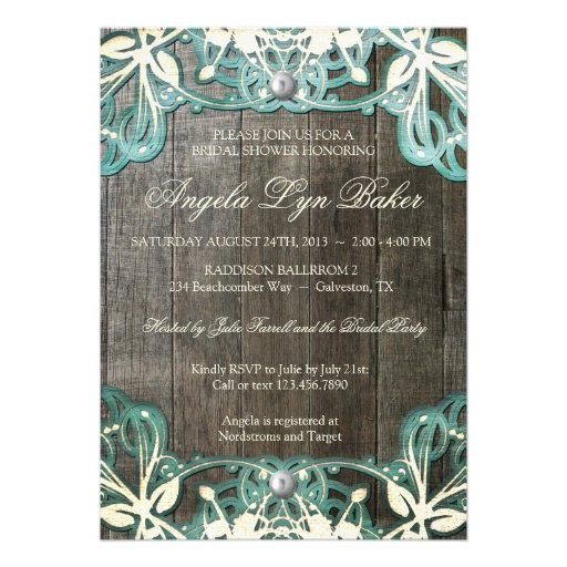 Country Lace Wood Rustic Bridal Shower Invite