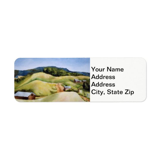 Country landscapes and scenic country roads barns. return address label