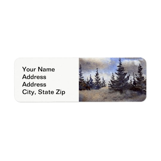Country landscapes and scenic views pines, clouds. return address label