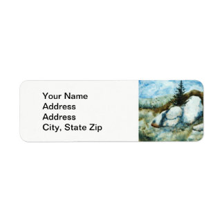 Country landscapes and scenic views pines, clouds return address label