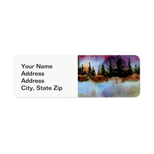 Country landscapes and scenic views pines, fog return address label