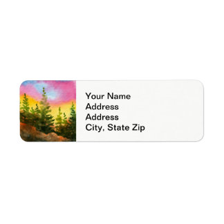 Country landscapes and scenic views sunrise pines. return address label