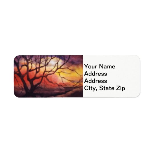 Country landscapes and scenic views sunset trees. return address label