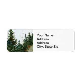 Country landscapes crows birds summer rocks pine. return address label