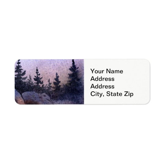 Country landscapes late evening  sky rocks pine. return address label
