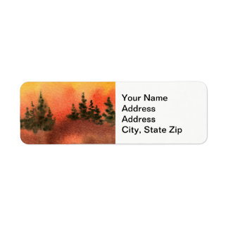 Country landscapes orange sunrise sunset sky. return address label