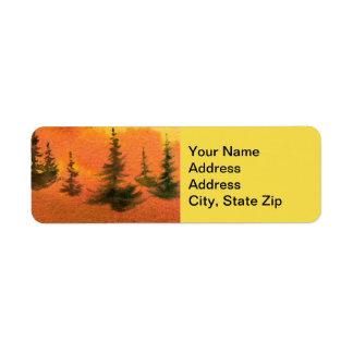 Country landscapes pines hills sunrise sunset sky. return address label