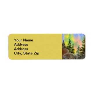 Country landscapes scenic views pine tree cliff. return address label