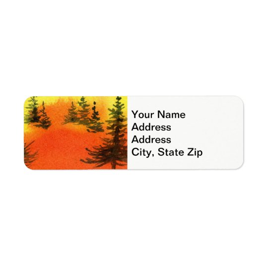 Country landscapes scenic views  sunrise pines. return address label