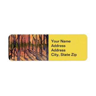 Country landscapes shadows sunrise sunset sky. return address label