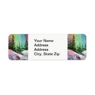 Country landscapes sunrise sunset pine tree cliff. return address label