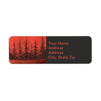 Country landscapes sunrise sunset red sky pine. return address label