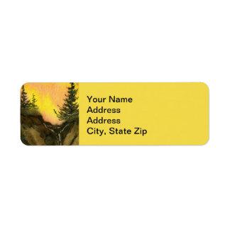 Country landscapes sunrise sunset  rocks pine. return address label