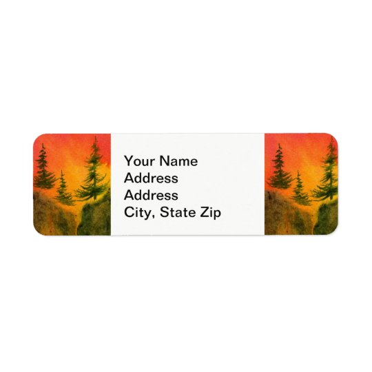 Country landscapes sunrise sunset sky rocks pine. return address label